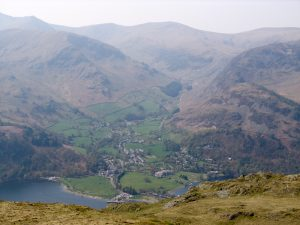 A view of Glenridding in the English Lake District, from the top of Place Fell. Just to the top left you can see Swirral Edge leading to Helvellyn.