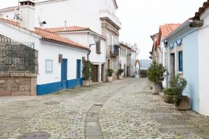 A typical old cobbled street leads down to the riverside in Vila Nova de Cerveira