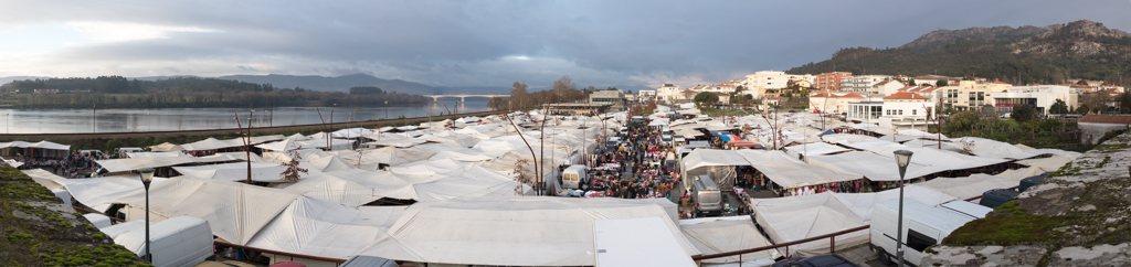Pano of market day in Vila Nove de Cerveira, one of the biggest markets I've ever seen