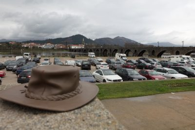The hat overlooks the river Lima to the church of Santo António da Torre Velha in Portugal