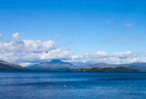 View of Loch Lomond with distant mountains