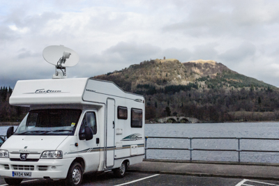 Parked at Lochgilphead with the satellite dish raised